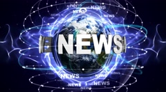 NEWS Text Animation and Earth, Loop, 4k Stock Footage
