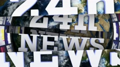 24h NEWS Text Animation Monitors Tunnel and Lines Bars, with Green Screen, 4k Stock Footage