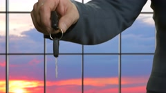 Adult men pass car key. Stock Footage