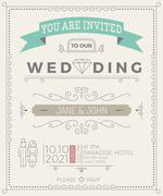 Vintage Wedding Invitation Card template - stock illustration