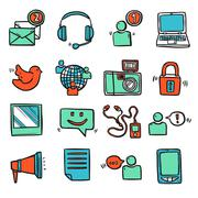 Social Media Icons Set Stock Illustration