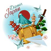 Discover Japan Poster - stock illustration