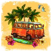 Surf Bus Sketch Concept - stock illustration