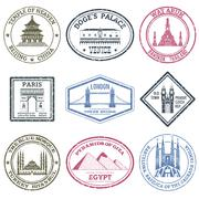 Monuments Stamps Set - stock illustration