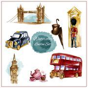 Watercolor London Set - stock illustration