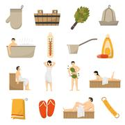 Bath Sauna Spa Flat Icons Set - stock illustration