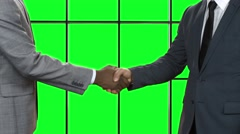 Businessman shakes afro man's hand. - stock footage