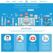 Nursing Profession Advertising Layout - stock illustration