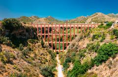 Puente del Aguila or Eagle Bridge in Nerja, Malaga, Spain Stock Photos