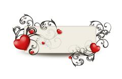 red hearts and floral ornament - stock illustration