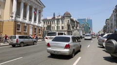 Business and historical district of the Vladivostok, Russia Stock Footage