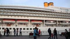 Ocean cruise liner Costa Victoria in Vladivostok, Russia - stock footage
