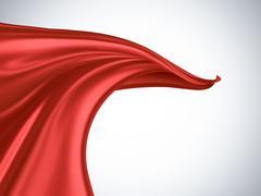 flying red silk - stock illustration