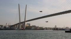 Bay View of the Golden Horn and Golden Bridge, Vladivostok, Russia - stock footage