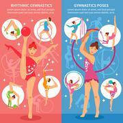 Rhythmic Gymnastics Vertical Banners Stock Illustration