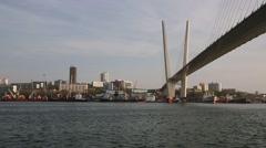 Bay View of the Golden Horn and Golden Bridge, Vladivostok, Russia Stock Footage