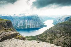 Scenic View From Rock Trolltunga - Troll Tongue In Norway - stock photo