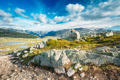Mountains Landscape With Blue Sky In Norway. Travel In Scandinav Stock Photos