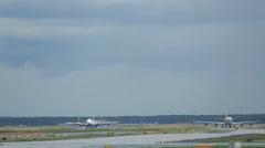 Lufthansa Boeing 747 braking, Frankfurt airport Stock Footage