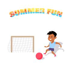 Happy Boy Play with a Ball. Summer Fun Stock Illustration