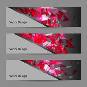 Set of vector banners with polygonal background Stock Illustration