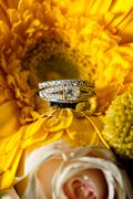 The wedding rings amongst the bridal bouquet Stock Photos