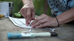 Cutting the stencil Stock Footage