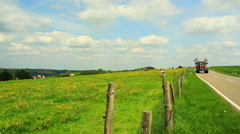 Tractor on the countryside. Stock Footage