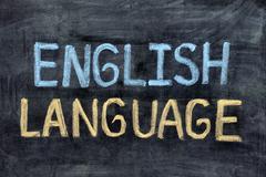 English language. English Language on blackboard - stock photo