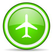 Airplane green glossy icon on white background. Stock Illustration