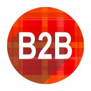 B2b red flat icon isolated. Stock Illustration