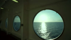 Seascape and sun in boat cabin Stock Footage