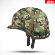Military modern camouflage helmet. Side view. - stock illustration