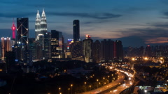 Sunset Timelapse - Kuala Lumpur City Centre and Traffic Light Trails. Stock Footage