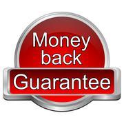 Money back Guarantee button - 3D illustration - stock illustration