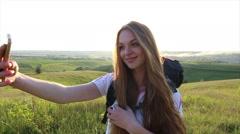 Slow motion Beautiful caucasian woman Make Selfie. Happy Tourist sunshine - stock footage