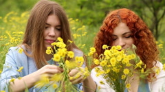 Best friends make wreaths of flowers. Stock Footage