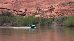 Colorado River near Arches NP, speedboat Stock Footage