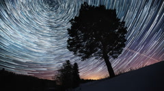 Starry sky time lapse with the star trails like comets Arkistovideo