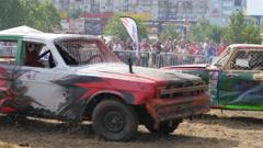 Destruction crash derby show - cars participants bamping crashing - stock footage