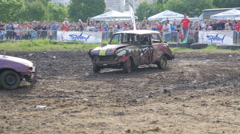 Destruction crash derby show - cars participants bamping crashing with sound  - stock footage