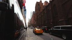 Taxi car driving through the New York City street. - stock footage