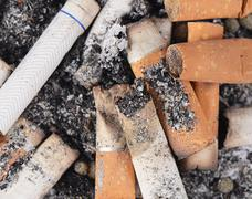 Cigarette butts amid the ashes Stock Photos