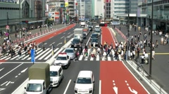 Tokyo- Traffic and people on crosswalk. Shinjuku. 4K speed up Stock Footage