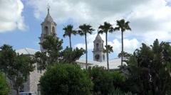 Clock towers  of Royal Naval Dockyard, Bermuda - stock footage