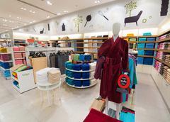 towels and bathrobes, Siam Paragon mall, Bangkok - stock photo
