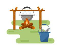 Pot on bonfire vector illustration - stock illustration