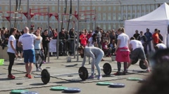 SAINT-PETERSBURG, RUSSIA. The competitions in powerlifting among women. Stock Footage