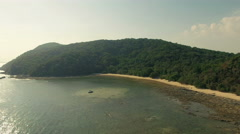 A deserted and pristine island in Thailand. Aerial drone video. N, - stock footage