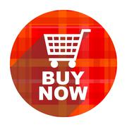Buy now red flat icon isolated. Stock Illustration